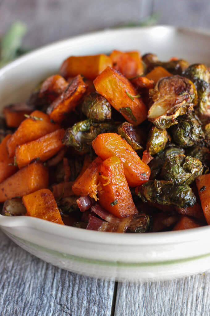 Roasted Butternut Squash and Brussel Sprouts with Maple Bacon Glaze
