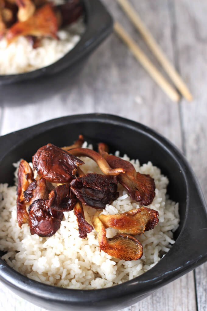 Fluffy white rice scented with coconut and lemongrass takes simple rice to another level. Top it with your favorite mushrooms and settle in for a simple but delicious experience.