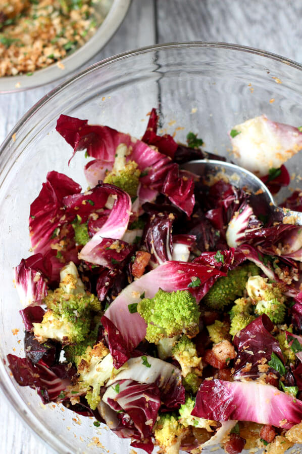 Romanesco Cauliflower adn radicchio ingredients mixed in glass mixing bowl