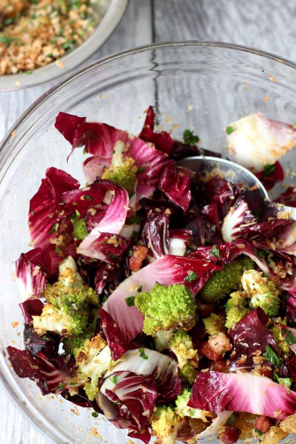 Romanesco Cauliflower adn radicchio ingredients mixed in glass mixing bowl