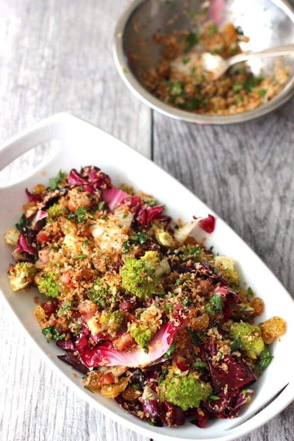Roasted Romanesco Cauliflower and Radicchio Salad with Pancetta in serving bowl with extra breadcrumbs in bowl