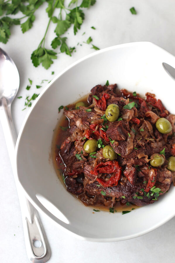 Sun-dried tomato and olive chuck roast is a perfect dinner for cold winter nights or those nights where spring is starting to sneak in.