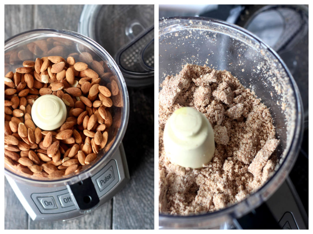 Almonds in food processor (picture left) Almonds after processed for a few minutes (right)