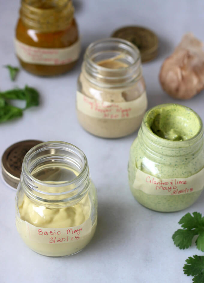 Basic Homemade mayonnaise along with jazzed up variations such Cilantro & Lime, Black Garlic & pepper.