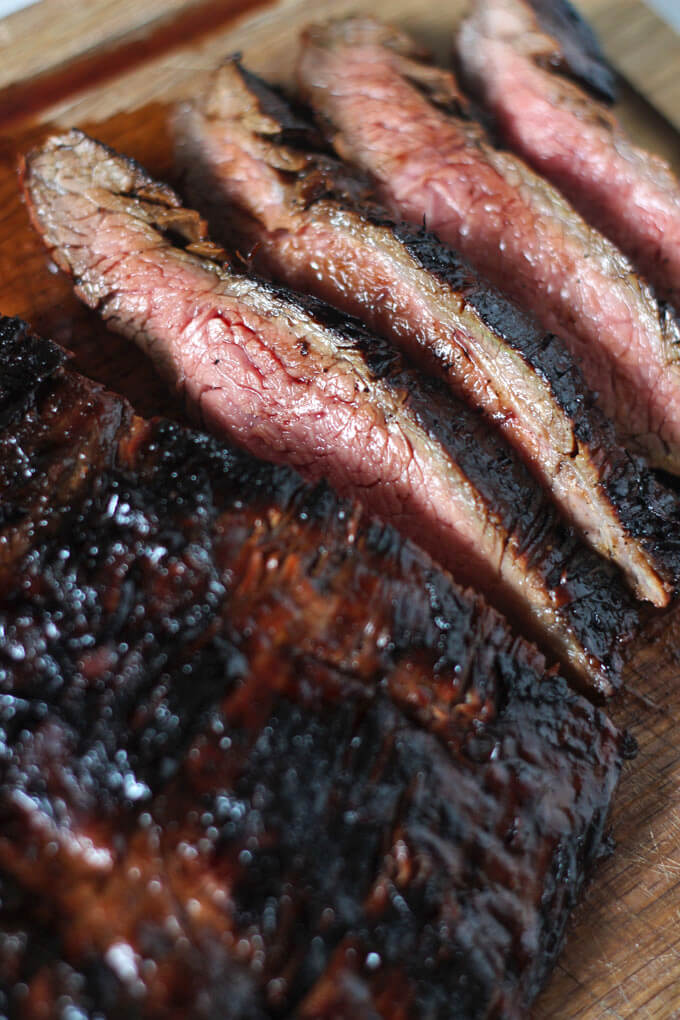 Close up of sliced grilled flank steak
