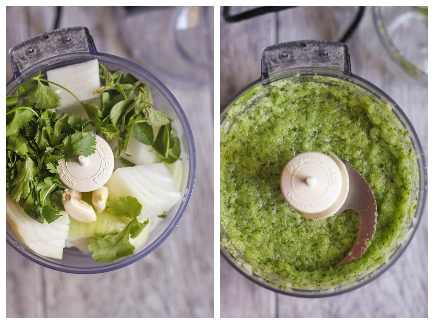 Two images. Image on left: cilantro, oregano, onion, and garlic in food processor before processing. Image Right: Ingredients blended into paste in food processor